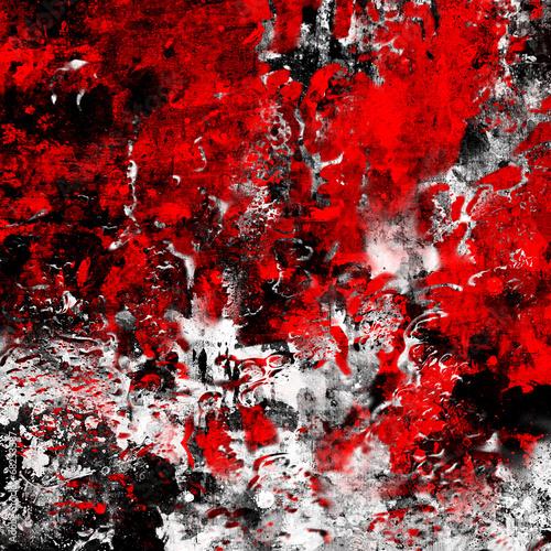 Naklejki na drzwi Abstrakcja czerwienie na czarno białym tle