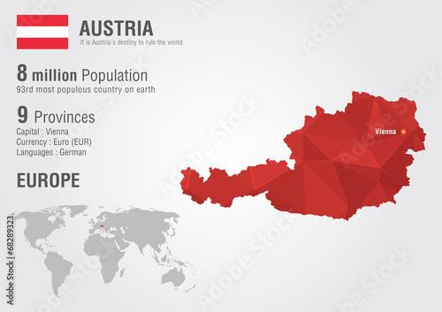 Photo Austria world map with a pixel diamond texture.