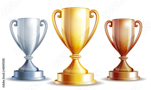 Fotografie, Obraz Vector gold, silver and bronze winners cup.