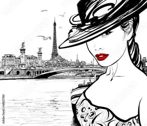 Fotografie, Obraz Young woman near the Seine river in Paris