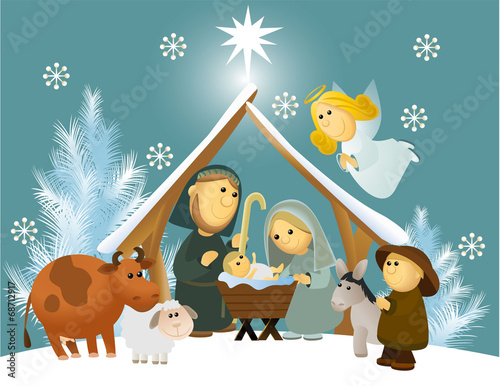 Obraz na plátně Cartoon nativity scene with holy family