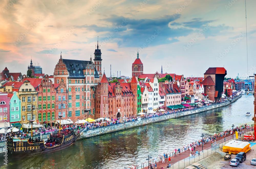 Top view on Gdansk old town and Motlawa river, Poland. <span>plik: #68793520 | autor: Photocreo Bednarek</span>