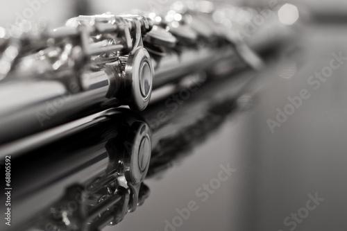 Fotografija Flute fragment in black and white