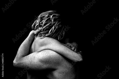 Fotografia, Obraz nude couple embrace dark