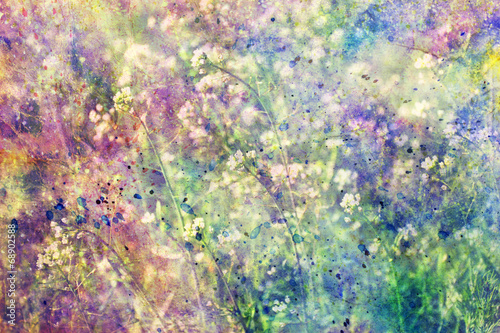 Grunge Kolorowe Akwarele Rozpryski I Małe Kwitnące Kwiaty