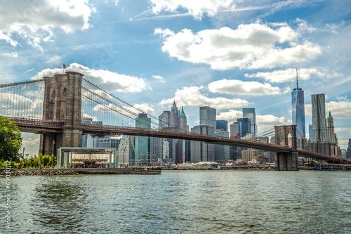 Fototapeta premium New York City Brooklyn Bridge Manhattan budynków skyline