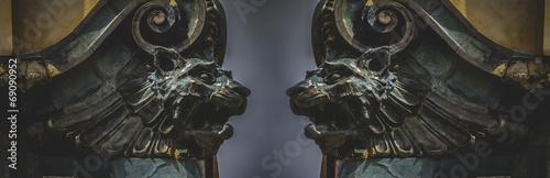 Fotografiet Gargoyles, gothic sculptures in madrid, spain