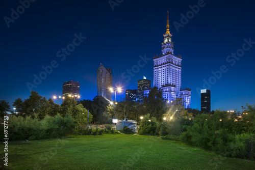 Night view of Warsaw city downtown #69127753