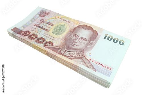 Fényképezés Thai baht banknotes isolated on white