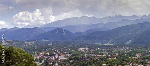 panorama of zakopane city and tatra mountains