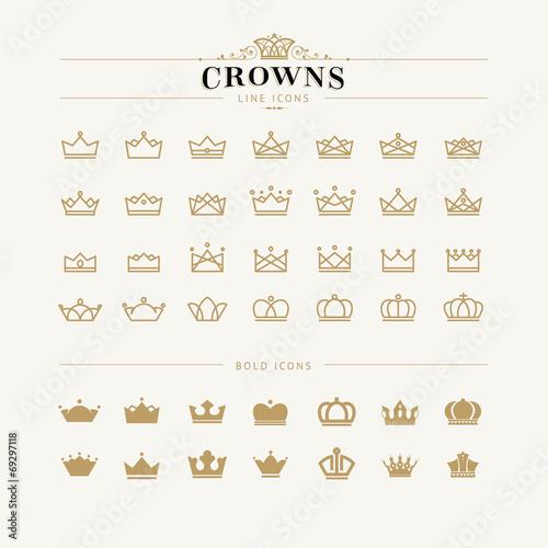 Fotografia Zestaw linii korony i pogrubione ikony