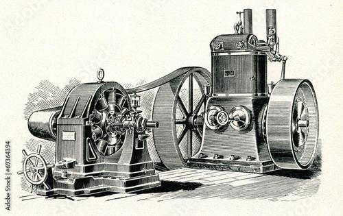 Fototapeta Steam engine and dynamo ca. 1880