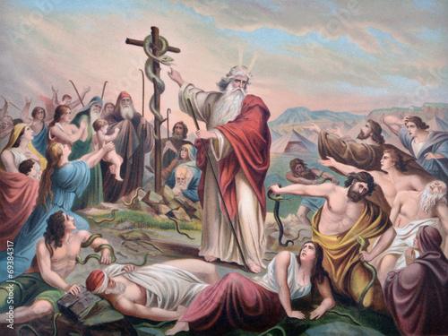 Obraz na plátně Moses and the snake
