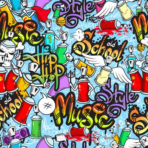 Lerretsbilde Graffiti characters seamless pattern