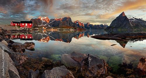 Norway village Reine with mountain, panorama #69559963