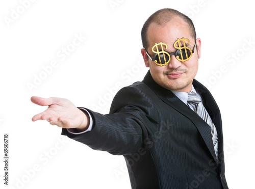 Fototapeta Happy businessman open hand plam to front