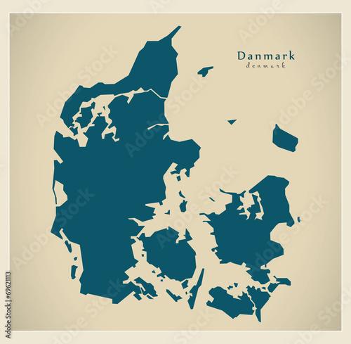 Canvas Print Moderne Landkarte - Dänemark