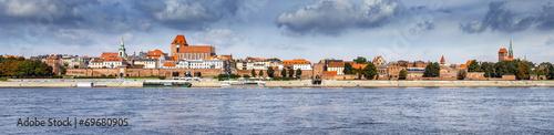 Panoramic view of old town in Torun on Vistula bank, Poland.