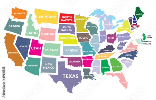 Wallpaper Mural USA map with states
