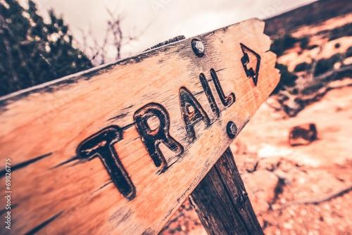 Obraz na plátně Dřevěné Trail Sign
