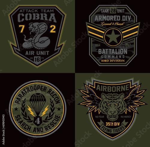 Canvas Print Special unit military patch emblems