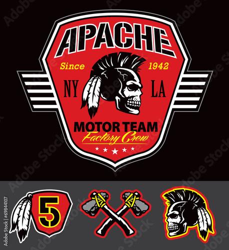 Wallpaper Mural Apache skull motor team graphic set