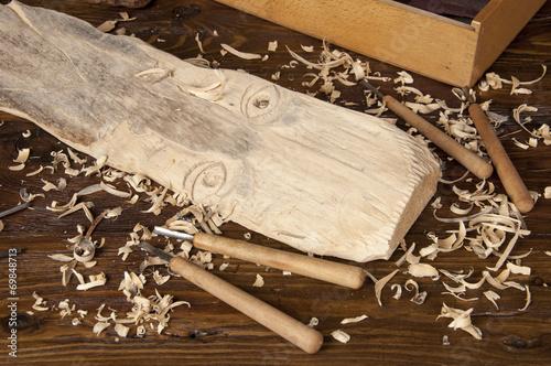 Canvas Print Wood sculpting