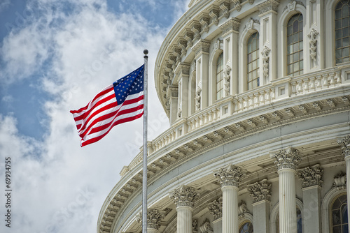 Canvas Print Washington DC Capitol detail on cloudy sky