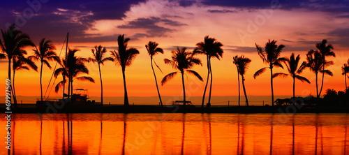 Fotografia Travel banner - Beach paradise sunset palm trees