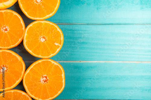 orange halves on table