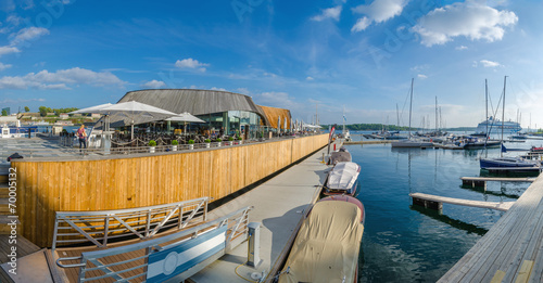 Panaroma of marina and restaurant in Oslo Fjord, Oslo, Norway