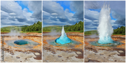 Three phases of the eruption of the geyser Fototapeta