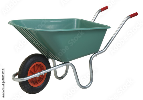 Photographie Green wheelbarrow cart isolated on white