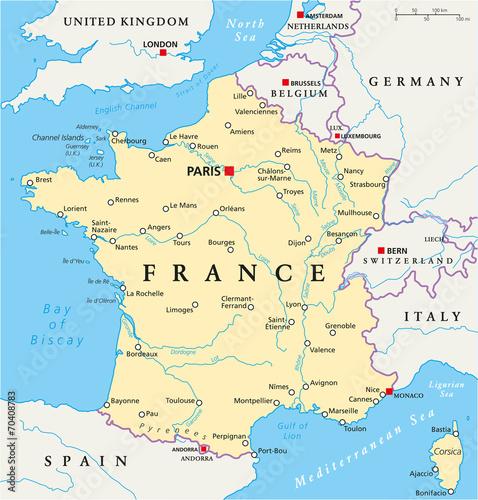 France Political Map Fototapeta