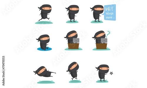 Canvas Print Ninja Mascot Set 2