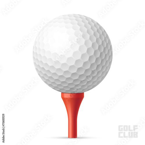 Fototapeta Golf ball on red tee