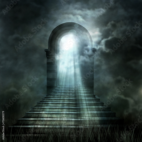 Tablou Canvas Staircase leading to heaven or hell. Light at the End of the Tun