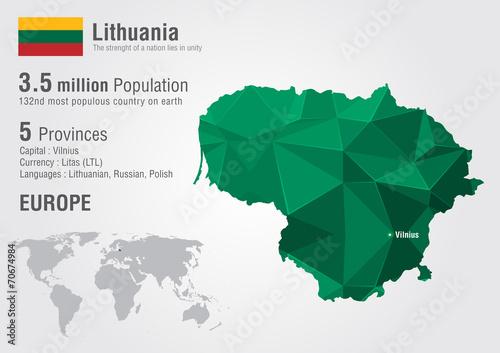 Fotografia Lithuania world map with a pixel diamond texture.