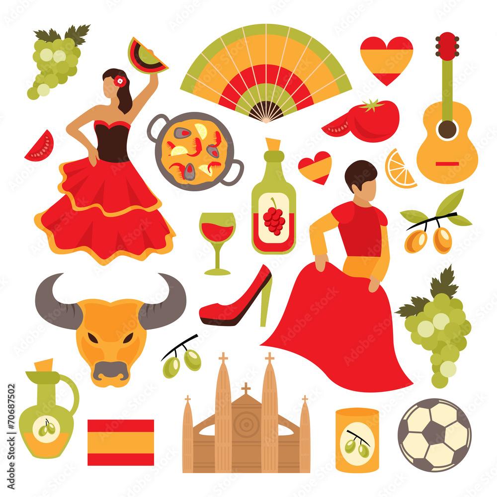 Spain icons set <span>plik: #70687502 | autor: macrovector</span>