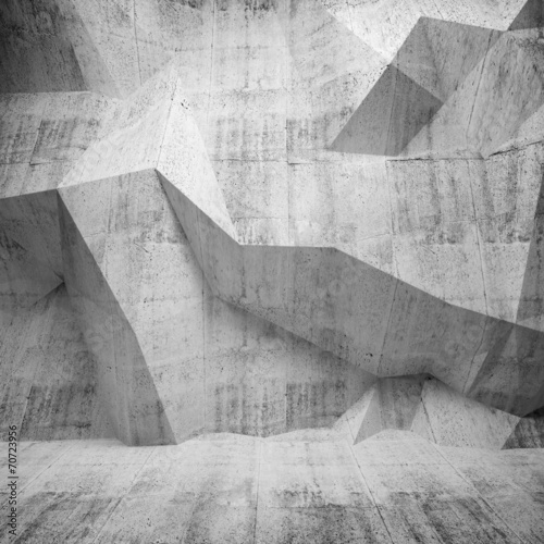Abstract concrete 3d interior with polygonal pattern on the wall #70723956
