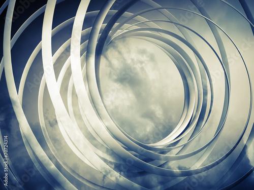 Monochromatyczny abstrakta 3d stonowany ślimakowaty tło z chmurami