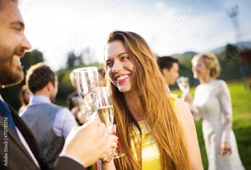 Fotografie, Tablou Wedding guests clinking glasses