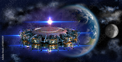 Obraz na plátně Alien mothership UFO nearing Earth