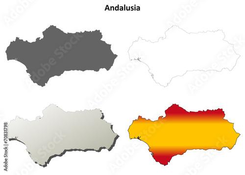 Fototapeta Andalusia blank detailed outline map set
