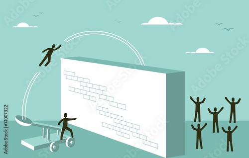 Stampa su Tela Teamwork motivation Business strategy for success concept
