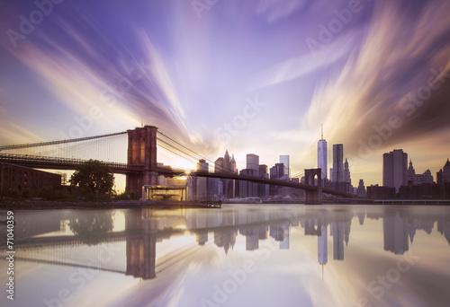 Obraz na płótnie Brooklyn bridge sunset