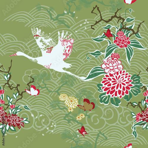 Seamless background with crane and ikebana #71043548