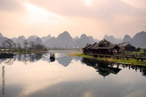 Obraz na plátně Landscape in Yangshuo Guilin, China ..