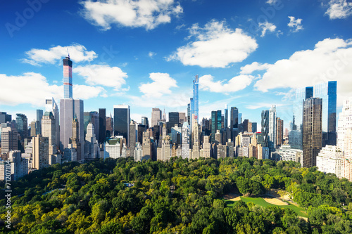 Canvas New York City - central park view to manhattan at sunny day