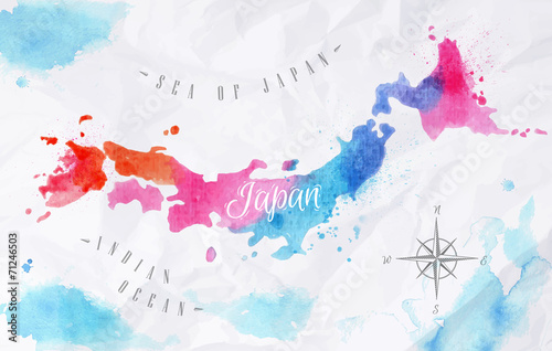 Wallpaper Mural Watercolor map Japan pink blue